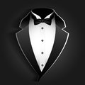 Tuxedo illustration of with bow tie on a black background Stock Images