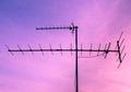 TV antenna at sunrise sky Royalty Free Stock Photo