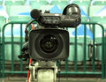 Tv broadcast hockey tv camera professional camcorder to Royalty Free Stock Image