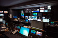 TV Broadcast news studio with many computer screens and control panels for live air broadcast. Royalty Free Stock Photo