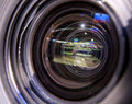 Tv camera tv broadcast hockey professional camcorder to Royalty Free Stock Photography