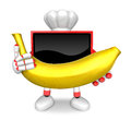 Tv character is holding a big banana in both hands create d te television robot series Stock Photos