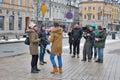 TV crew interviews an unknown celebrity in Warsaw, Poland.