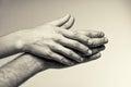 Två händer mjukhet Royaltyfri Fotografi