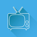 Tv Icon vector illustration in line style isolated on blue background with long shadow.