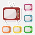 TV icons stickers set