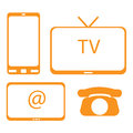 Tv mobile phone internet and home phone vector illustration Royalty Free Stock Image