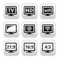 Tv monitor screen buttons set hd wireless web televistion grey square isolated on white Stock Image