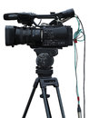 Tv professional studio digital video camera isolated on white background Stock Images