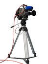 Tv professional studio digital video camera on tripod isolated o over white background Stock Image