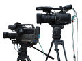 Tv professional studio digital video cameras isolated on white background Royalty Free Stock Image