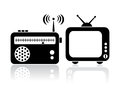 Tv radio icons Royalty Free Stock Photo