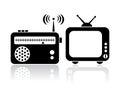 Televize radiopřijímač ikony
