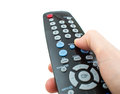 Tv remote control in hand isolated closeup Stock Images