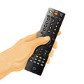 TV remote control in hand  on white Royalty Free Stock Photo