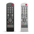 Tv remote controller the black and white on the white background Stock Images