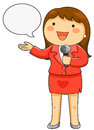 Tv reporter cartoon female holding a microphone Royalty Free Stock Photography