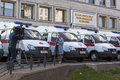 TV reporters shoot reportage on the transfer of cars first aid clinics Vologda and Cherepovets near the government building of the