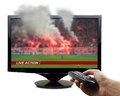 Tv screen with football match and smoke isolated Stock Photos