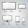 TV screen, Lcd monitor, notebook, tablet computer Royalty Free Stock Photo