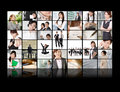 Tv screen wall showing pictures business concept asian business people Royalty Free Stock Images