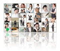Tv screen wall showing pictures business concept asian business people Royalty Free Stock Image