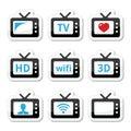 TV set, 3d, HD icons set
