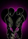 Två skelett i en mjuk omfamning med en förälskelsehjärta i bakgrunden Royaltyfri Bild