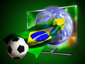 Tv soccer world cup d led television from where seems to come out an earth globe and a ball surfing on a brazilian flag Royalty Free Stock Photography