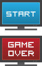 Tv start game over isolated with or on the screen Royalty Free Stock Photos