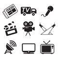 Tv station icons this image is a vector illustration and can be scaled to any size without loss of resolution Royalty Free Stock Images