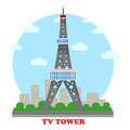 TV station and radio mast and tower for television