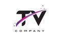 TV T V Black Letter Logo Design with Purple Magenta Swoosh
