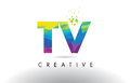 TV T V Colorful Letter Origami Triangles Design Vector.