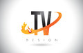 TV T V Letter Logo with Fire Flames Design and Orange Swoosh.
