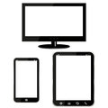 Tv tablet computer mobile phone illustration Stock Photos