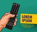 TV, television banner. Remote control, comics vector illustration