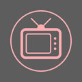 TV, television circular line icon. Round colorful sign. Flat style vector symbol.