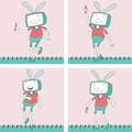 Tv toon character set this is beautiful vector with various pose and activity Royalty Free Stock Image