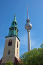 TV Tower and church Stock Images