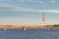 Tv tower and the daugava river riga s latvia Stock Photo