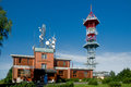 Tv transmitter kozakov with a restaurant and view tower on a mountaintop in the czech republic in europe Stock Photos