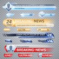 Tv vector bars and broadcast graphics for lower third news background Royalty Free Stock Photo