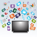 Tv with websites and socialnetwork logos Stock Photography