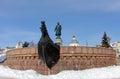 TVER, RUSSIA - February 22: Monument to Afanasy Nikitin - a russ Royalty Free Stock Photo