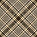 Tweed check pattern vector. Gold houndstooth tartan plaid for blanket, throw, skirt. Royalty Free Stock Photo
