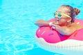 Tween girl in resort pool Royalty Free Stock Photo
