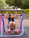 Tween girl on stepping machine Royalty Free Stock Photo