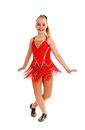 Tween jazz dancer in red happy year old recital costume Royalty Free Stock Images
