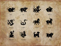 Twelve animals of the chinese zodiac, vintage sepia Royalty Free Stock Photo